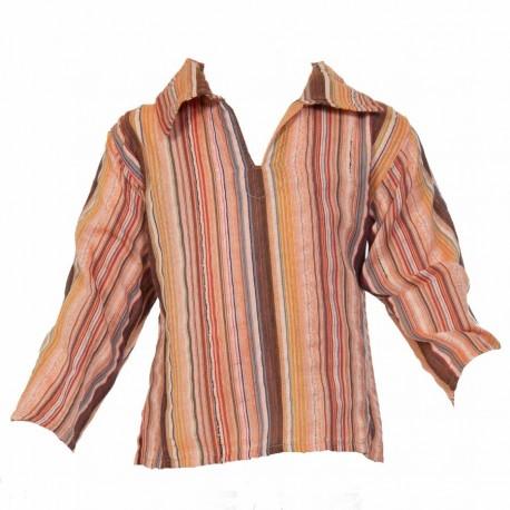 Stripe long sleeves shirt collarV orange