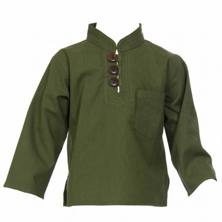 Hippy long sleeves shirt Maocollar plain army