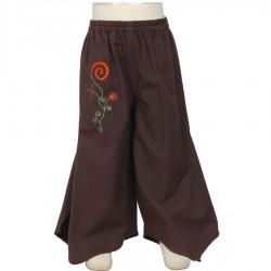 Pantalon falda etnico marron