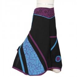 Pantalon jupe ethnique noir turquoise prune