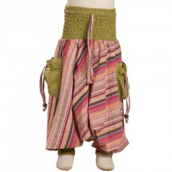 Indian baggy trousers kid stripe cotton lemon green