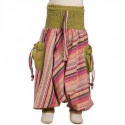 Pantalon afgano indio niño algodon rayado verde lemon