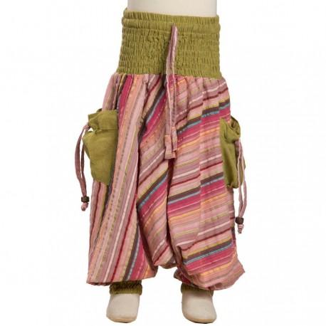 Indian baggy trousers kid stripe cotton lemon green