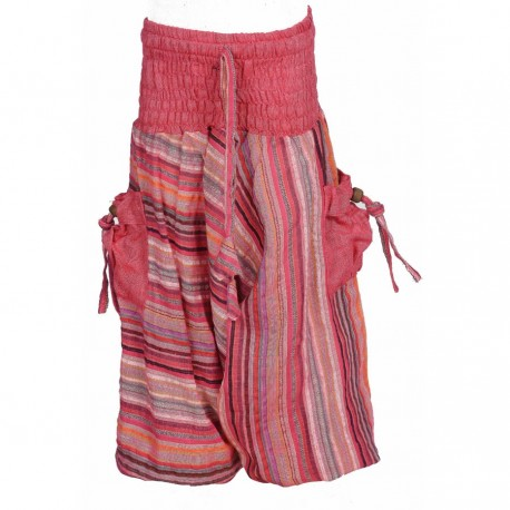 Sarouel indien rayures bordeaux et kaki