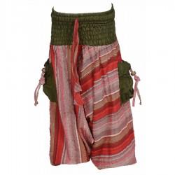 Sarouel rayures indiennes bordeaux et kaki