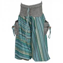 Sarouel ethnique indien rayures turquoise