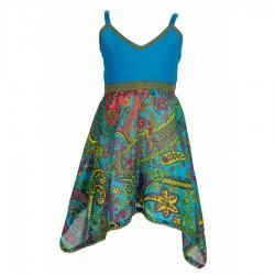 Robe ethnique coton indien turquoise