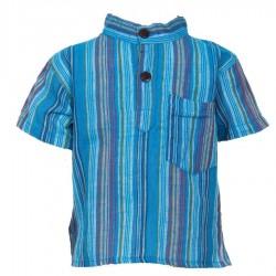 Chemise ethnique Népal rayée turquoise