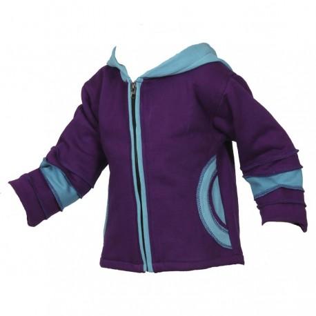 Caqueta jersey algodon forrado azul petroleo y turquesa