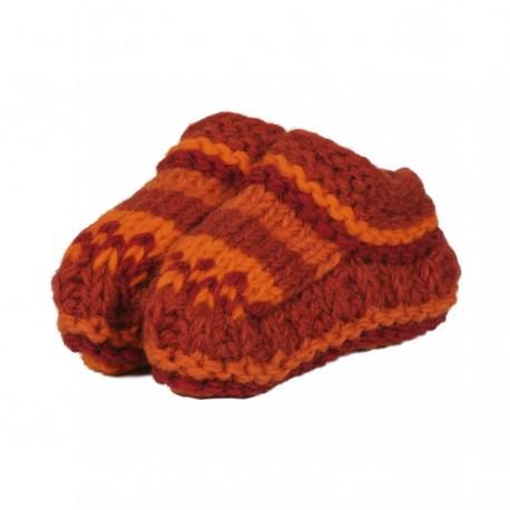Chaussons laine bébé doublés polaire orange