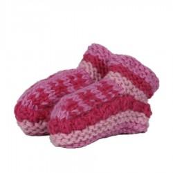 Chaussons laine fille rose doublés polaire