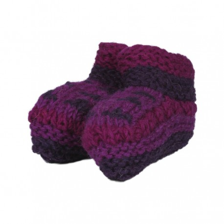 Baby slippers wool lined polar purple