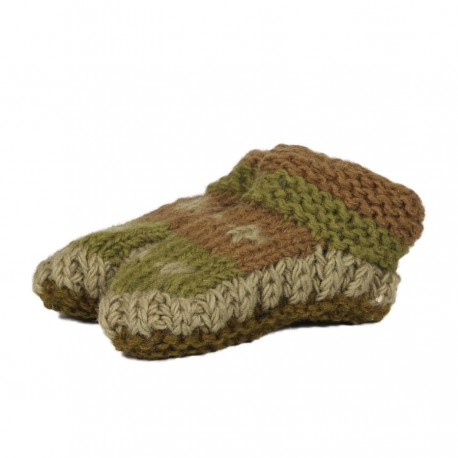 Baby slippers wool lined polar green army