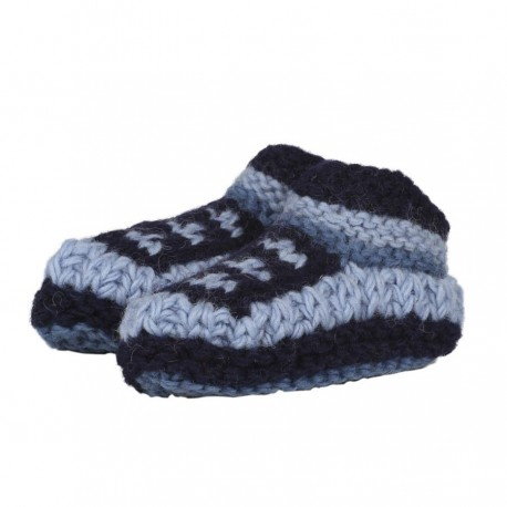 Baby slippers wool lined polar blue