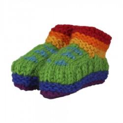 Patucos bebe lana doblada polar arco iris