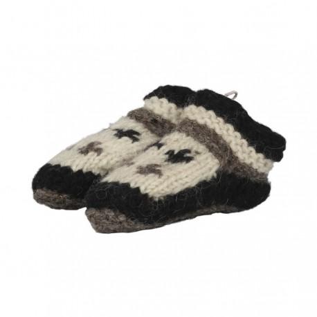 Chaussons laine enfant noir et blanc doublés polaire