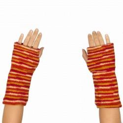 Mitaines laine doublées polaire orange