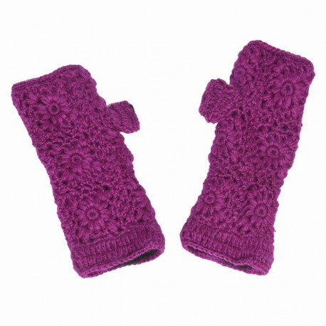 Mitaines baba cool crochet violette