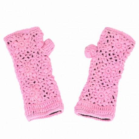 Mitaines crochet laine rose
