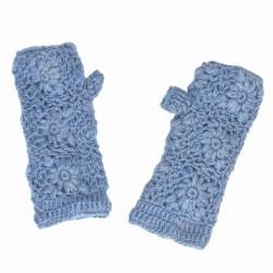 Mitaines laine crochet bleu