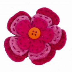 Brooch woman kid felt flower bottom pink