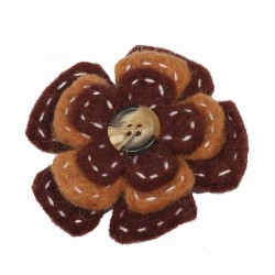 Broche mujer nino lana hervida flora boton marron