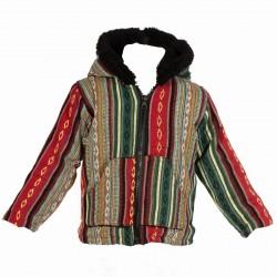 Veste coton style poncho doublure fourrure