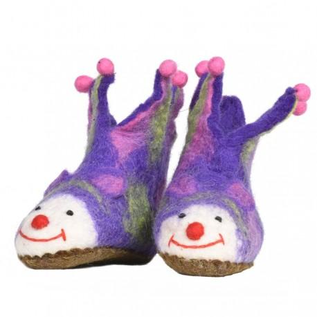 Chaussons bébé feutrine jocker violet