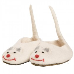 Chaussons laine bouillie enfant souris blanche