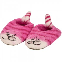 Chaussons feutrine fille tigre rose