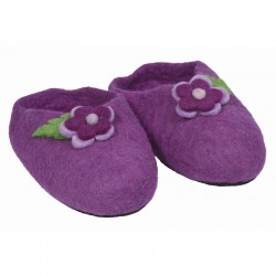 Chaussons fille artisanaux violet
