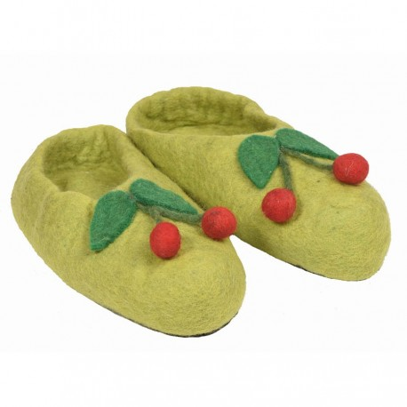Chaussons fille Népal vert anis