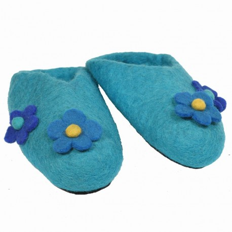 Chaussons fille fleurs turquoise