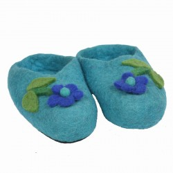 Chaussons fille feutrine turquoise