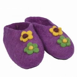 Chaussons Népal fleurs violet