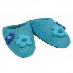 Pantoufles fille fleurs turquoise
