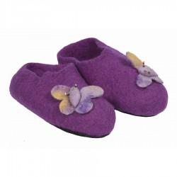 Chaussons feutrine enfant violet