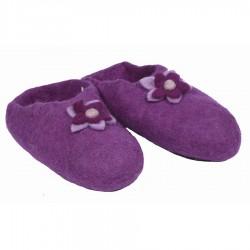 Pantoufles feutrine Népal violet