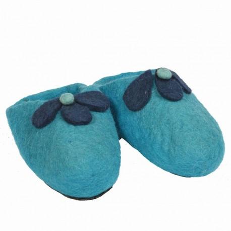 Pantoufles laine bouillie fleurs turquoise