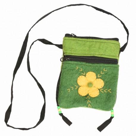 Pochette laine bouillie fleur vert anis