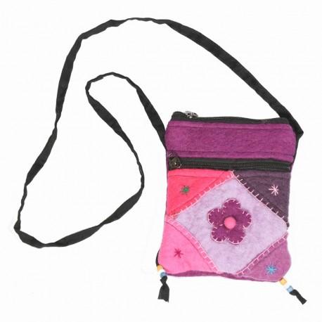 Sac laine bouillie fleur multicolore violet