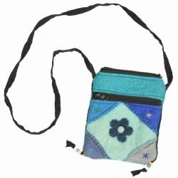 Petit sac laine bouillie fleur bleu