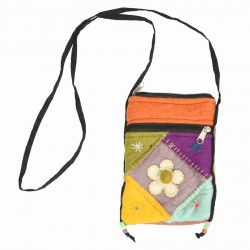 Sac laine bouillie multicolore orange et pastel