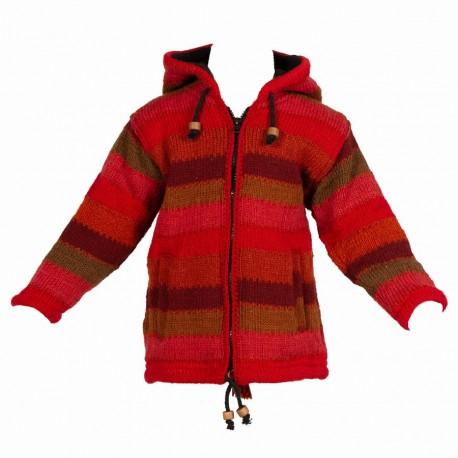 Veste babacool laine bordeaux