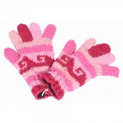 Gants laine fille rose