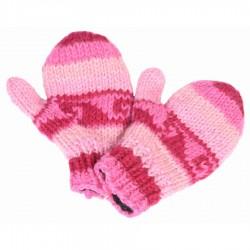 Moufles laine fille rose