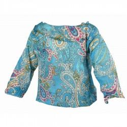 Tunique coton fille imprimée turquoise