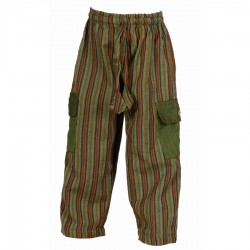 Pantalon enfant rayures kaki bordeaux