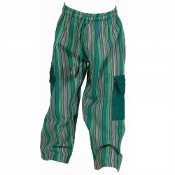Pantalon enfant coton rayé vert