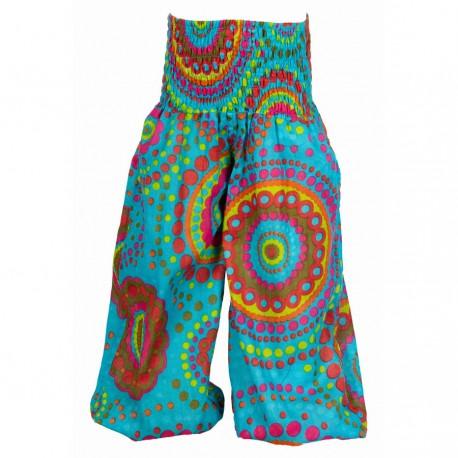 Pantalon enfant ethnique imprimé turquoise